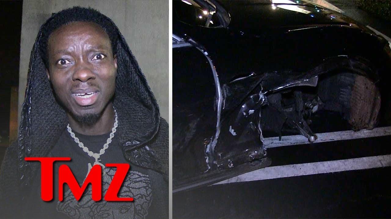 Michael Blackson's Rolls-Royce Smashed by Alleged Drunk Driver on 3 WHEELS   TMZ 5