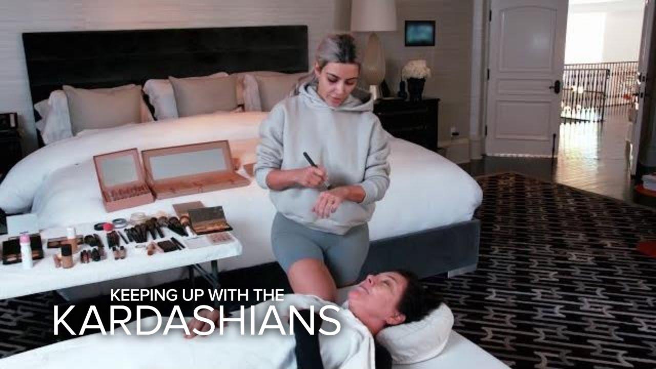 KUWTK | Kim Kardashian West Practices Mortician Makeup on Kris | E! 5